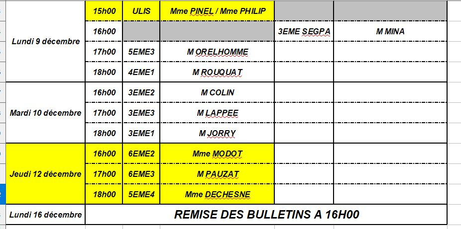 Planning des conseils de classes du premier trimestre 2019-2020